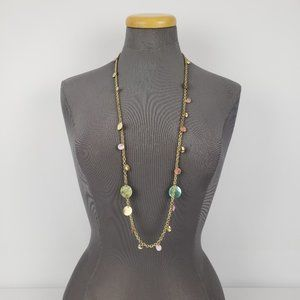 Gold Seashell Long Chain Necklace